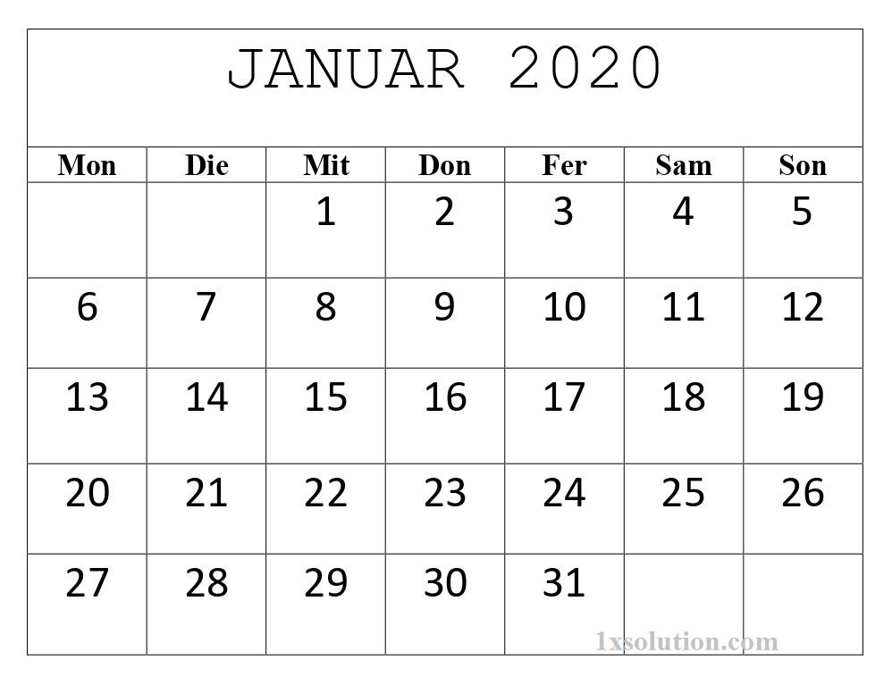 Monats Kalender Januar 2020 Zum Ausdrucken