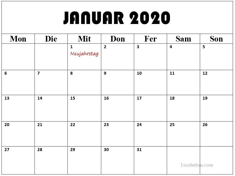 Planer Kalender Januar 2020 Mit Feiertagen