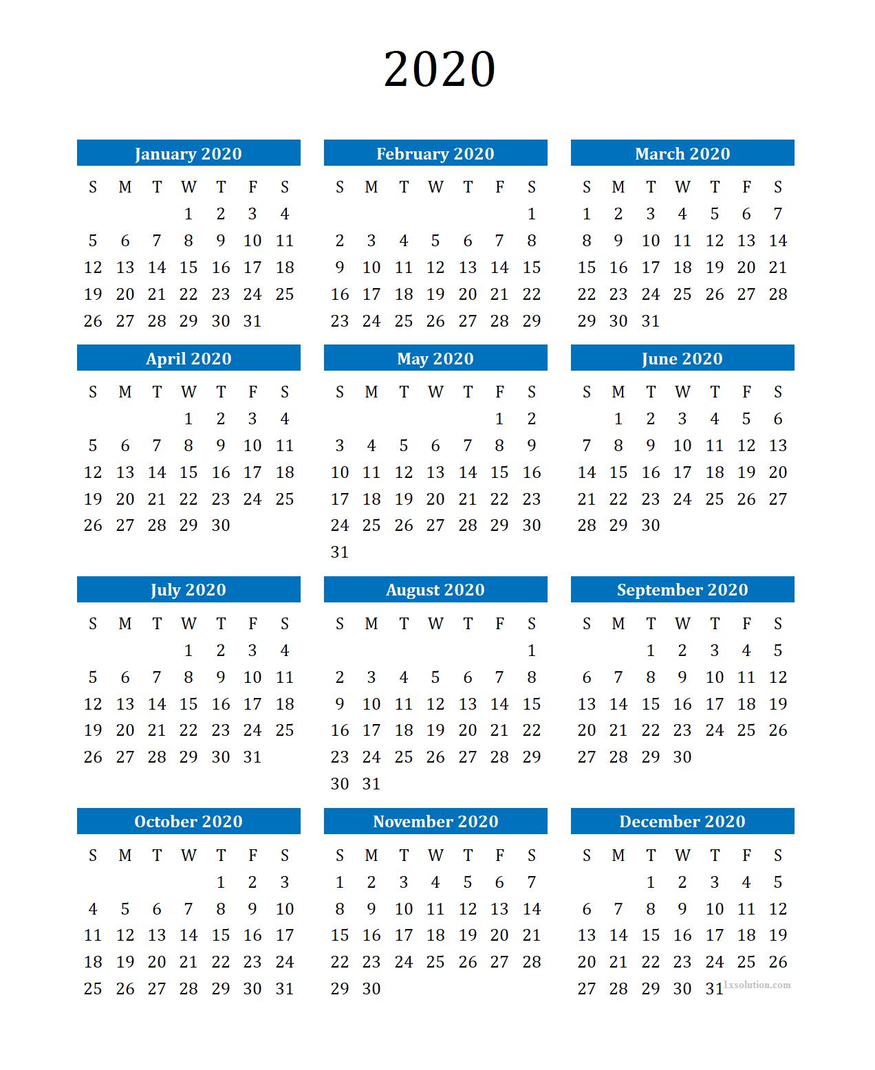 Yearly 2020 Calendar Blank