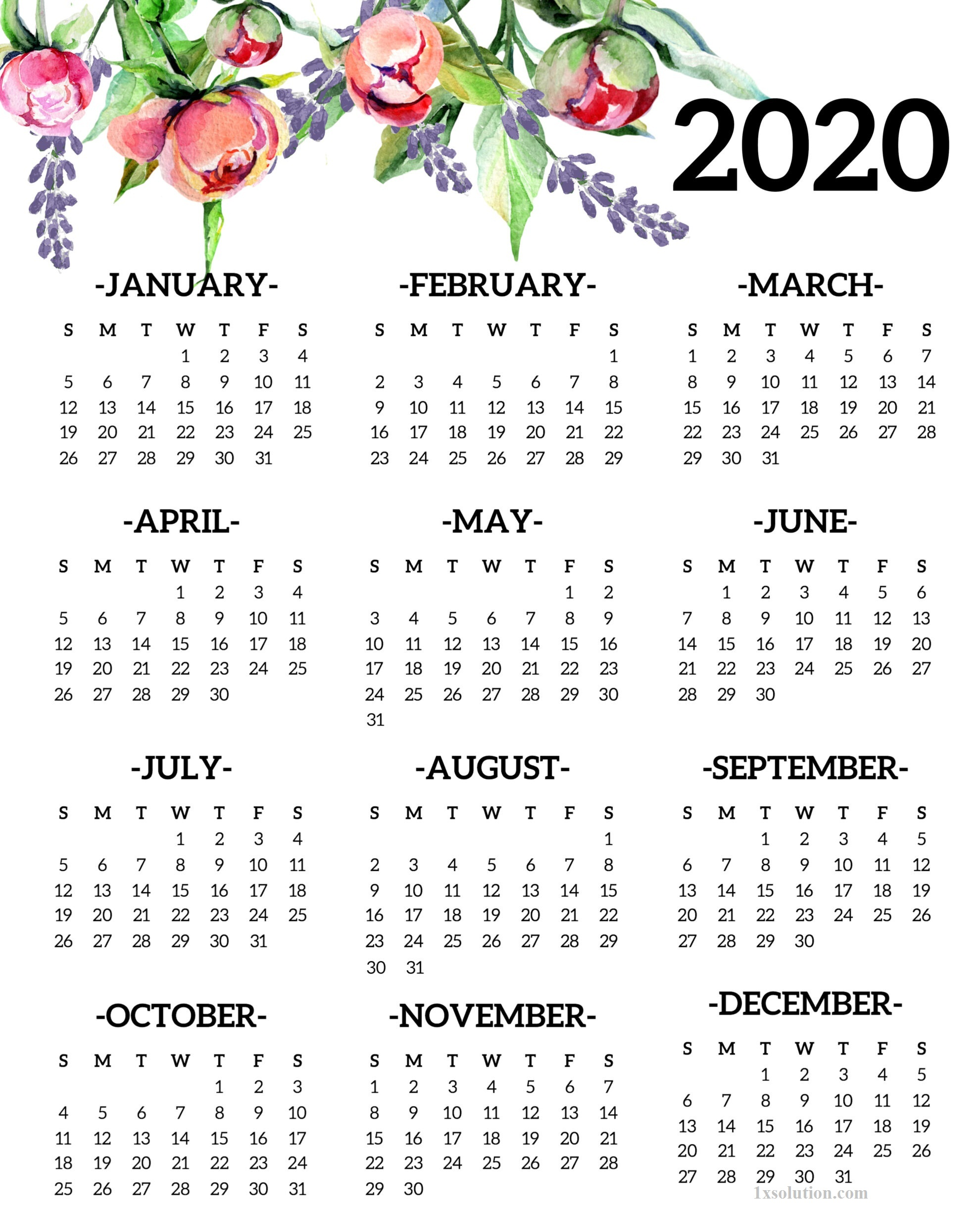 Yearly 2020 Calendar Cute