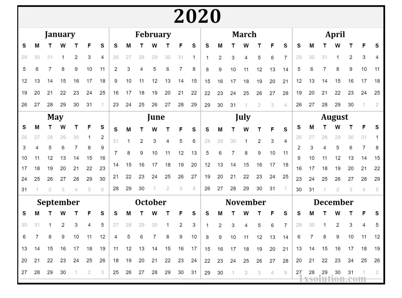 Yearly 2020 Calendar Free