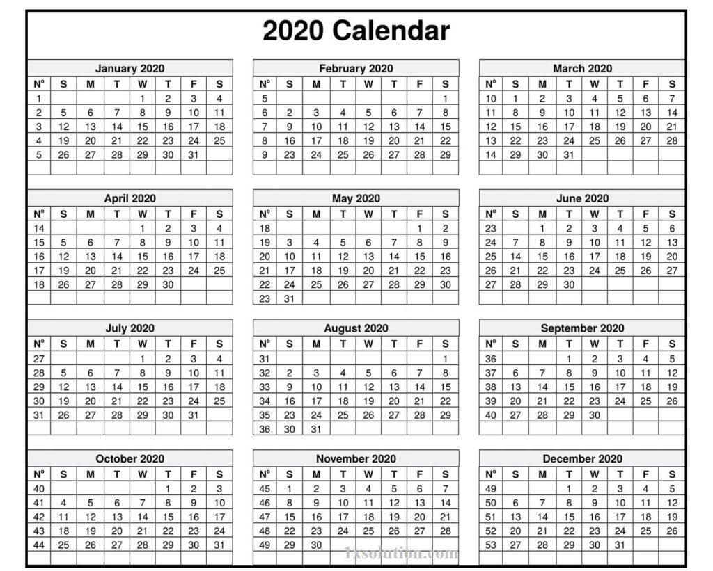 2020 Calendar Excel