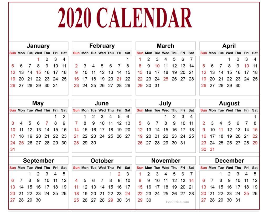 2020 Daily Calendar Free