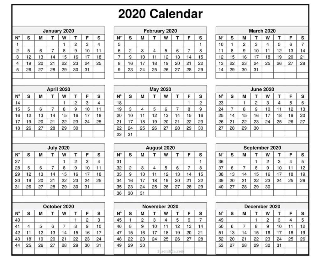 2020 Daily Calendar Printable