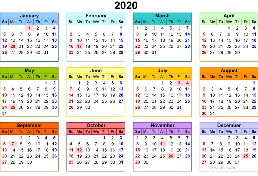 2020 Daily Calendar Template