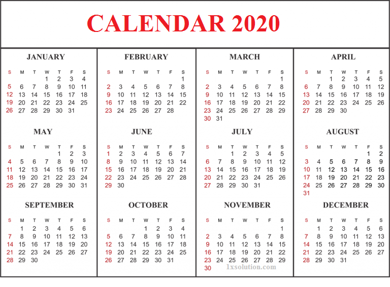 Blank Calendar 2020 Landscape