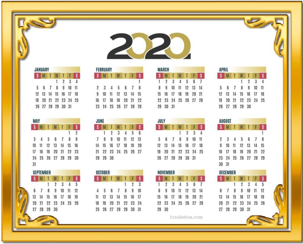 Blank Calendar 2020 Layout