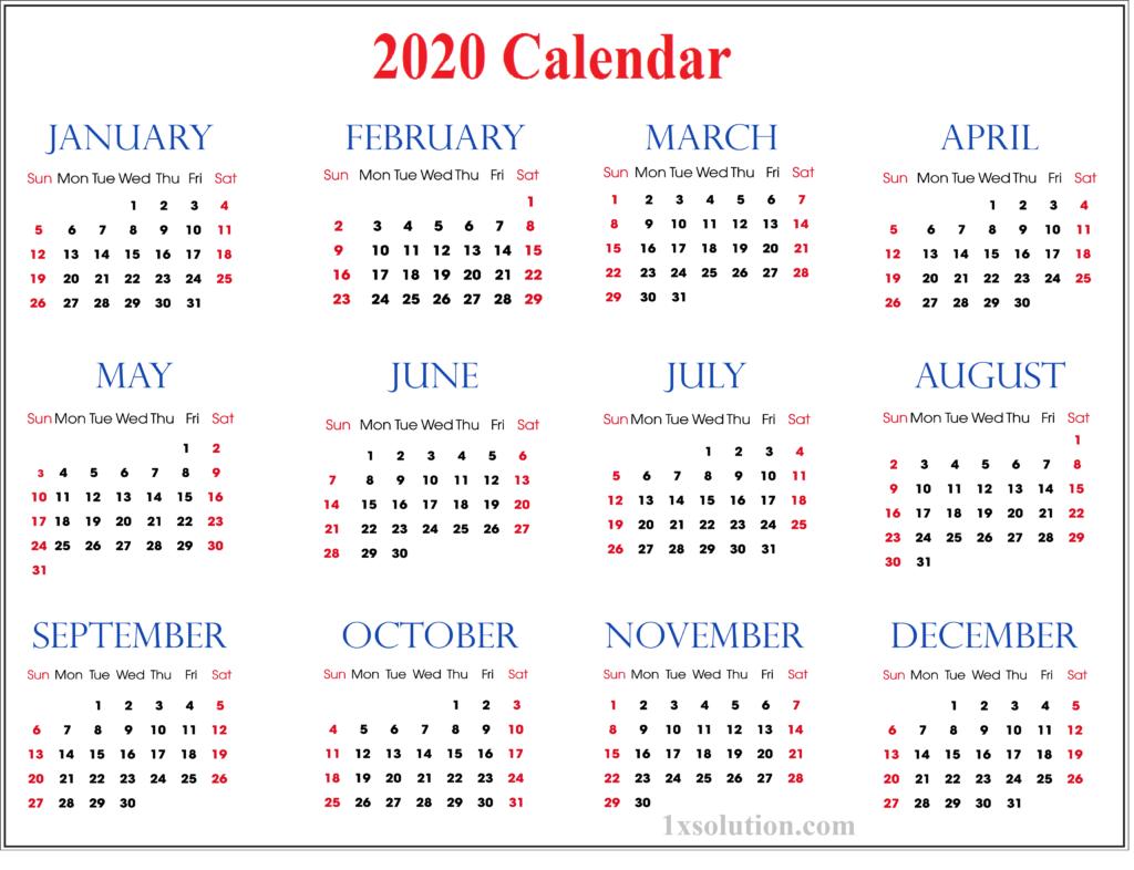 Blank Calendar 2020 PDF