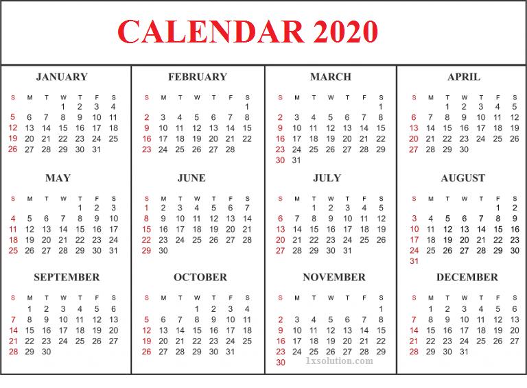Blank Editable Calendar 2020