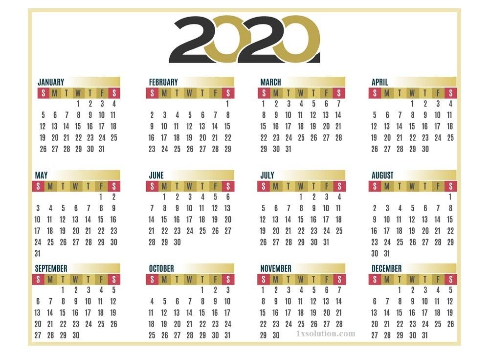 Calendar 2020 Editable