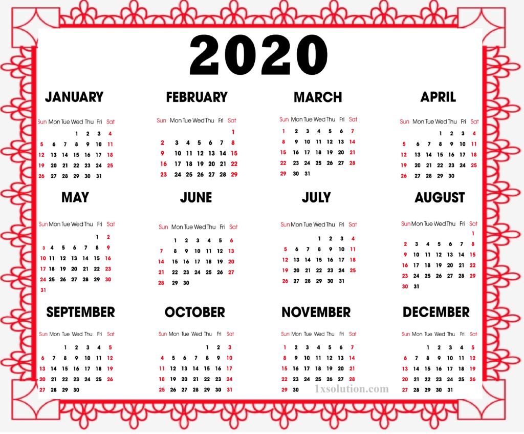 Calendar 2020 Monthly