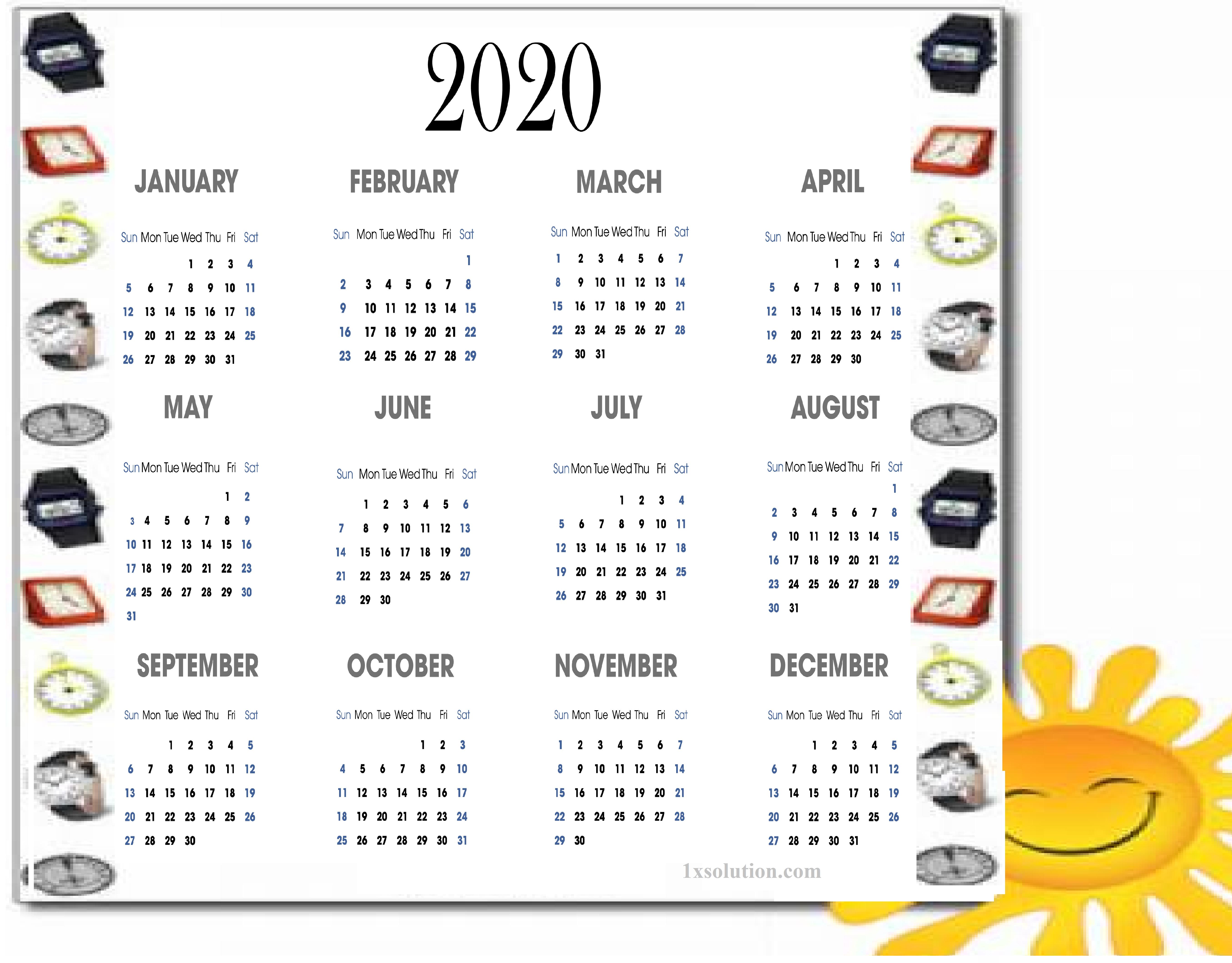 calendar 2020 pdf for mark your daily class