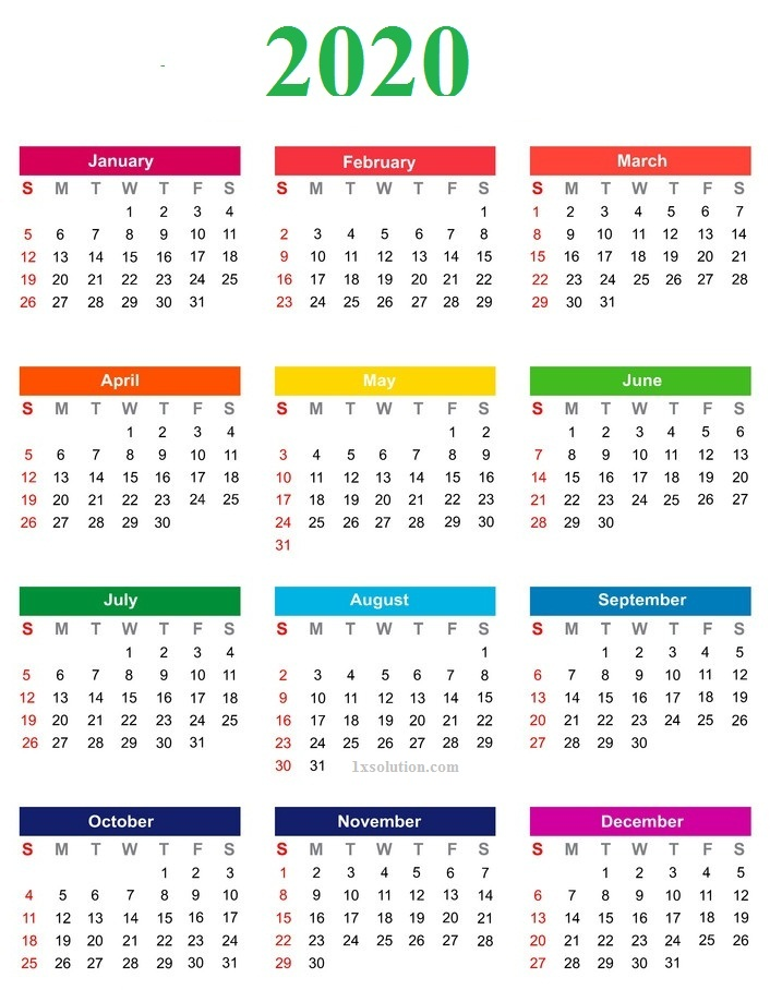 Calendar 2020 Template With Holidays