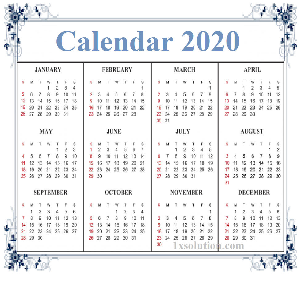 Calendar 2020 With Holidays Notes