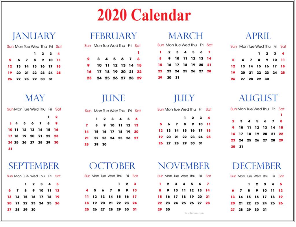 Calendar 2020 With Holidays PDF