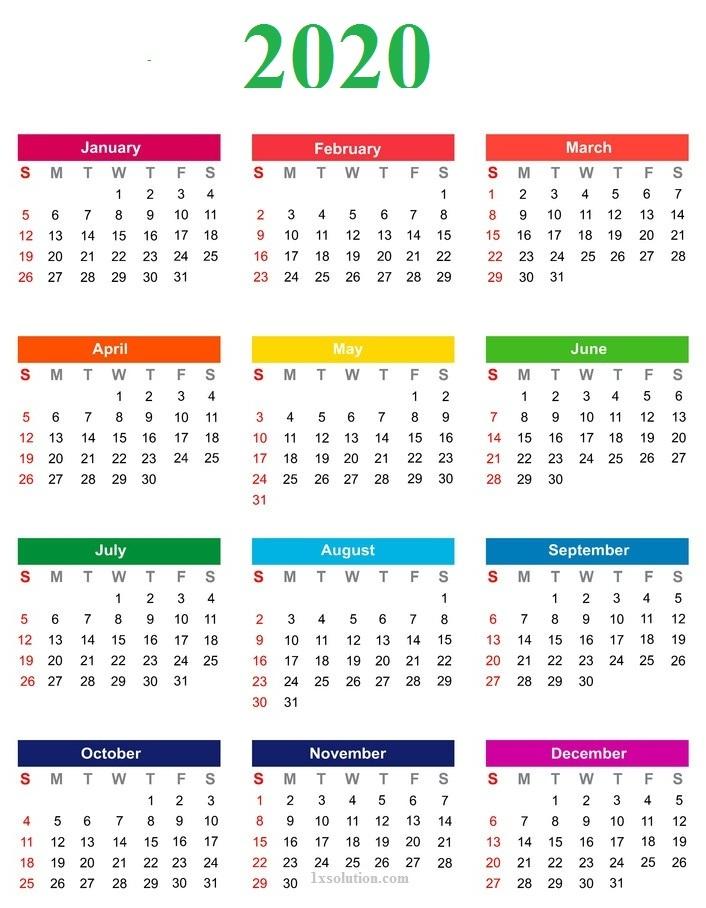 Cute Blank Calendar 2020