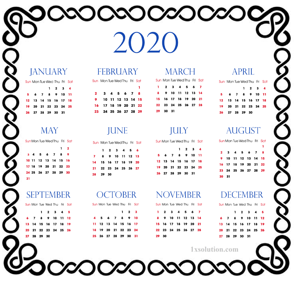 Calendar 2020 PDF For Mark Your Daily Class