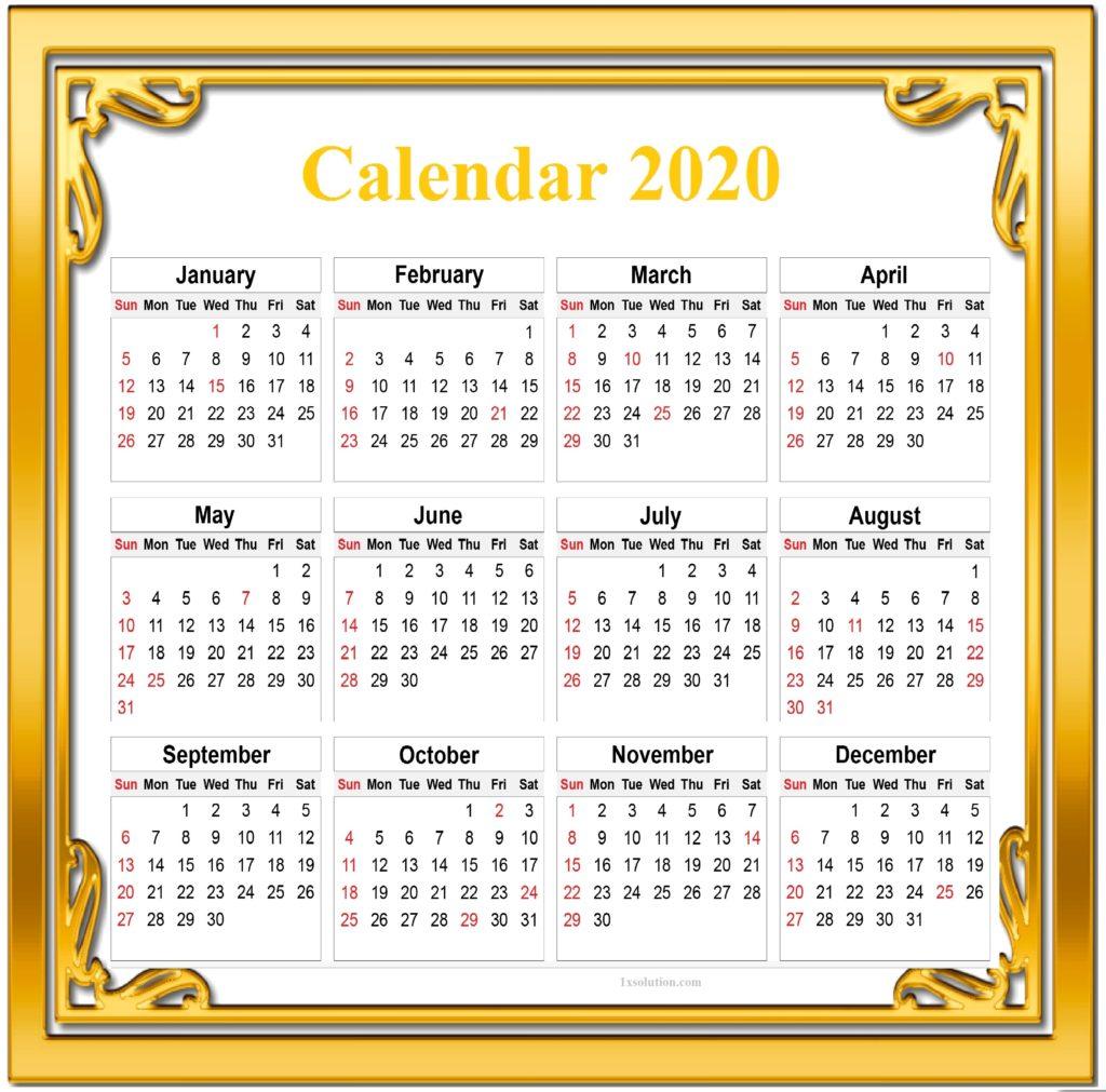 Cute Calendar 2020 With Holidays