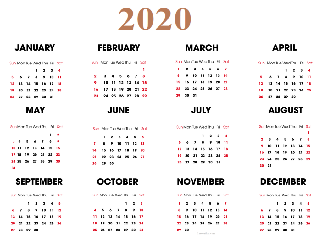 Download Calendar 2020 With Holidays