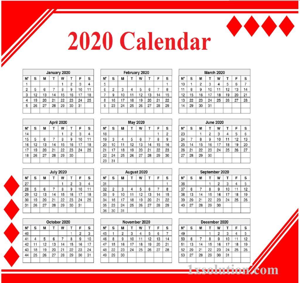 Editable Calendar 2020 Free