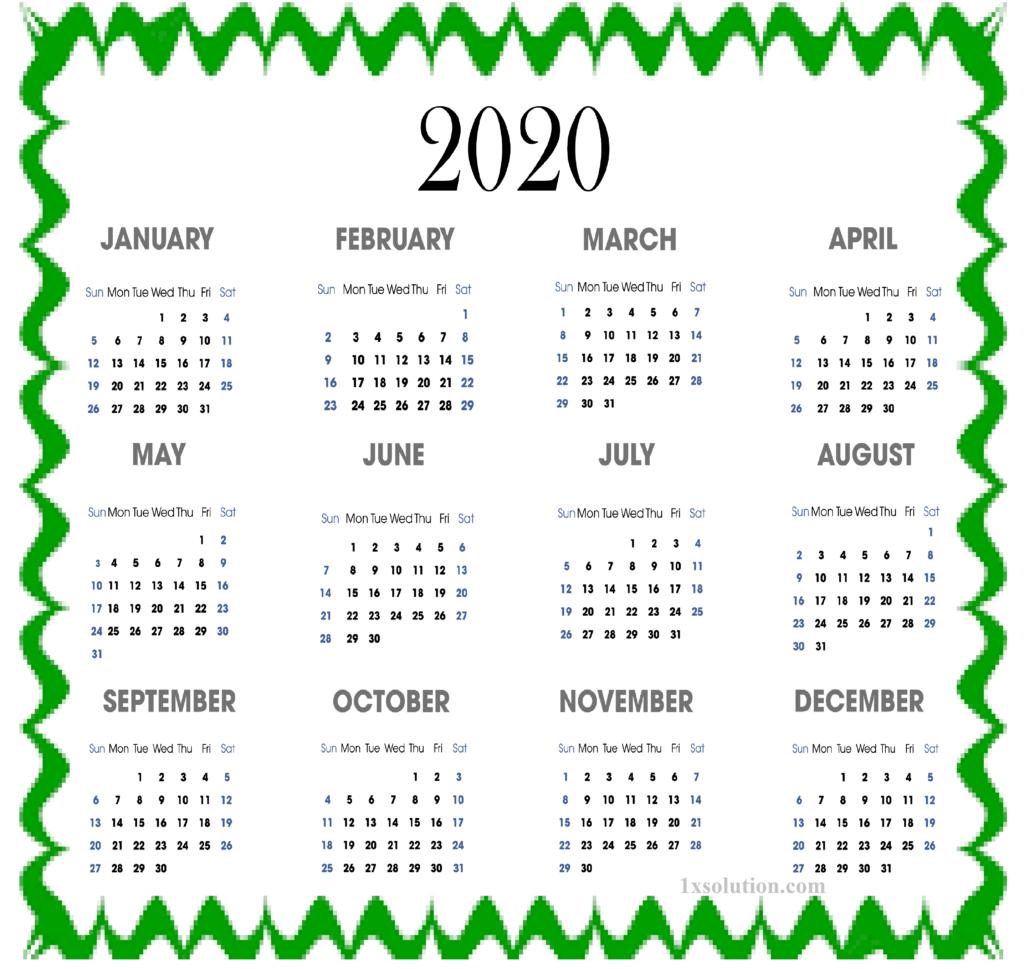 Editable Calendar 2020PDF
