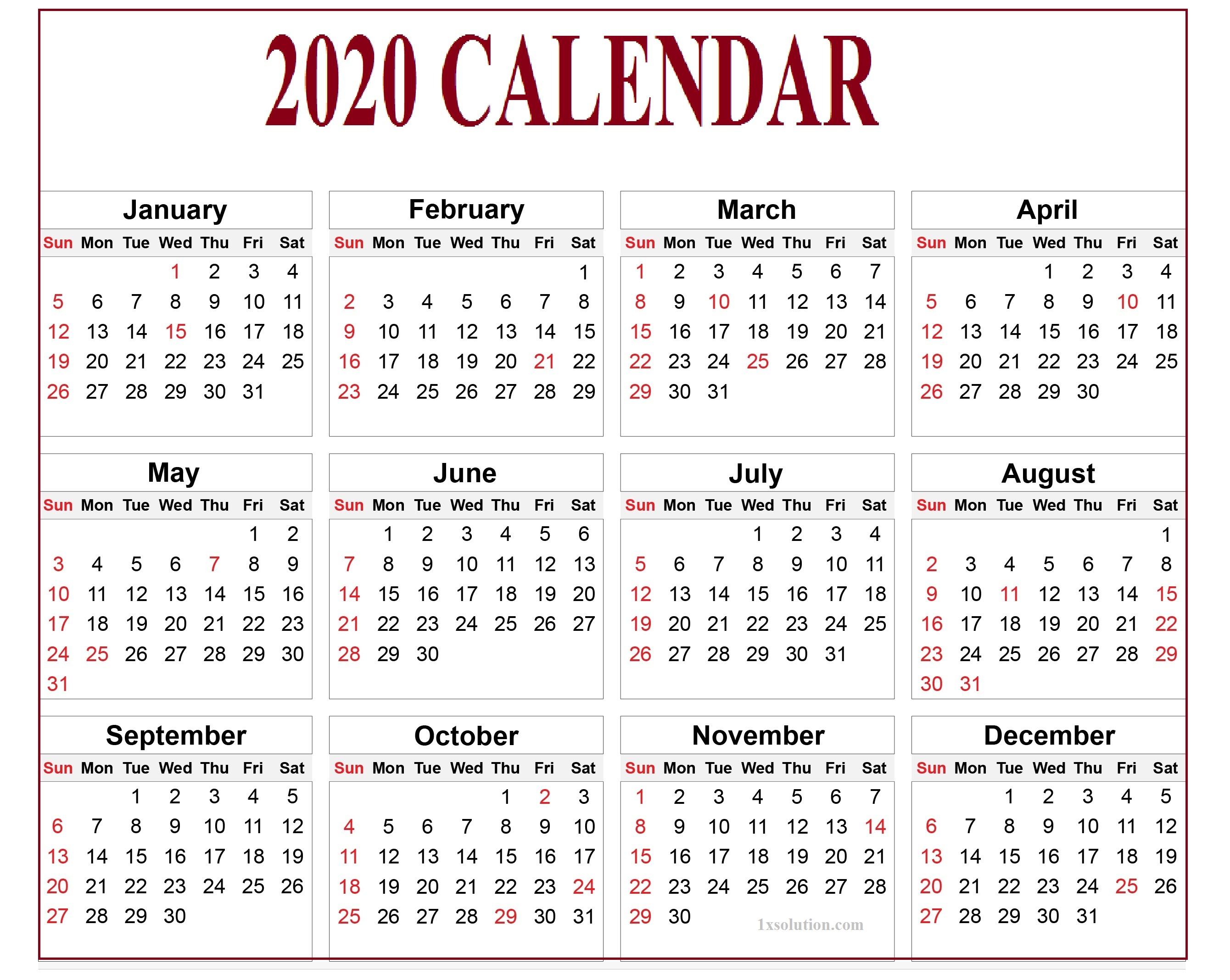 Editable Calendar 2020 True Tool For Time Management Calendar