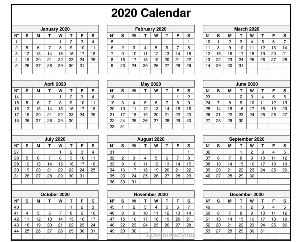 Excel Calendar 2020 With Holidays