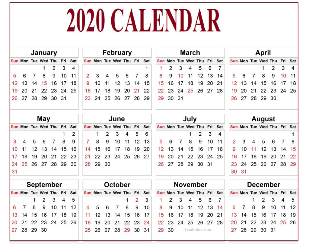 Free Calendar 2020 With Holidays