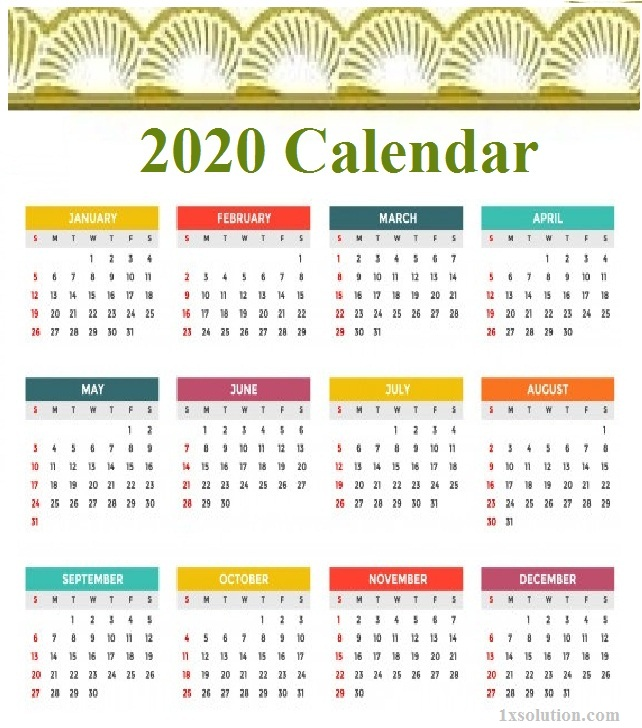 Holidays Calendar 2020 Excel