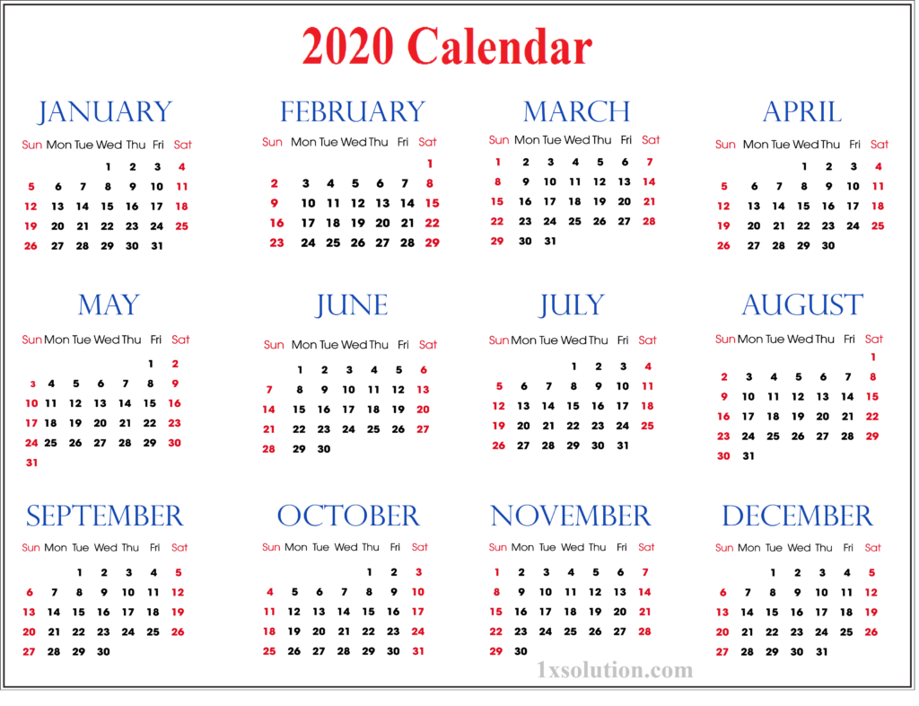 Monthly Calendar 2020 Cute