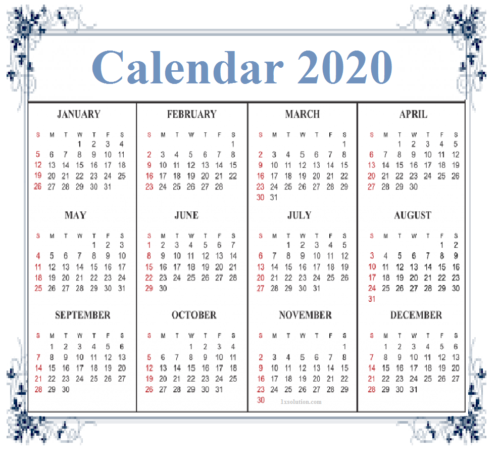 Monthly Calendar 2020 Free