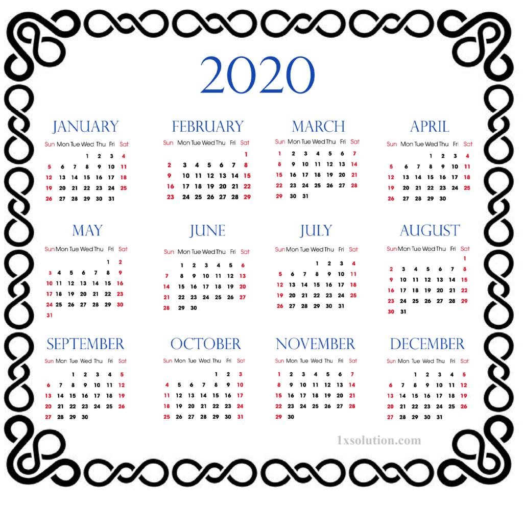 Printable Calendar 2020 Excel