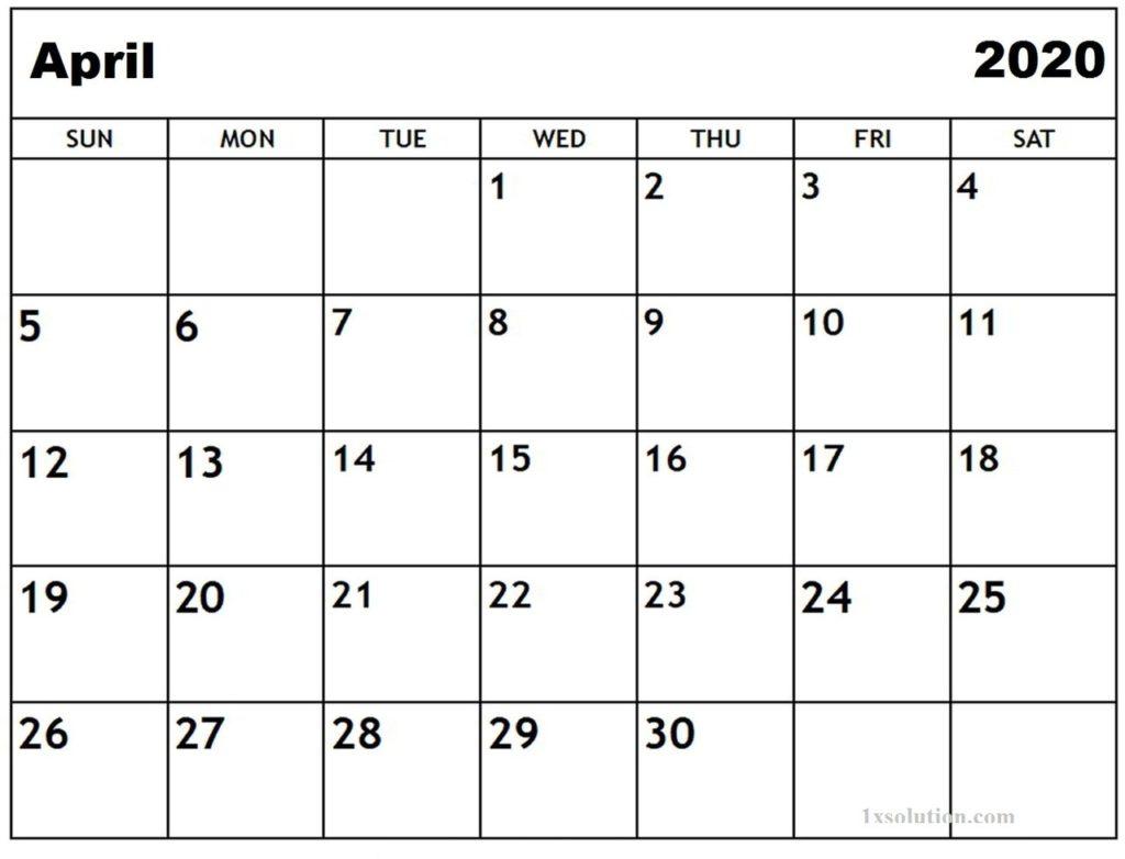 April 2020 Calendar Download