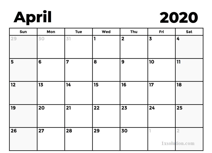 April 2020 Calendar For Kids
