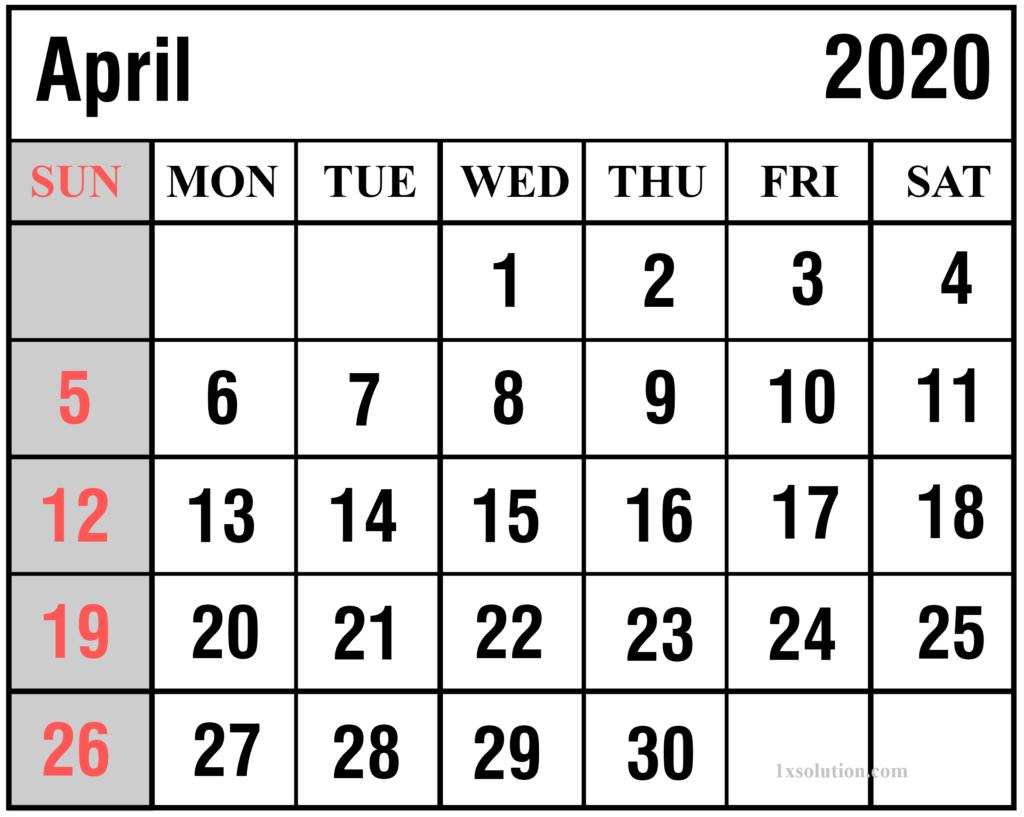 April 2020 Calendar Free