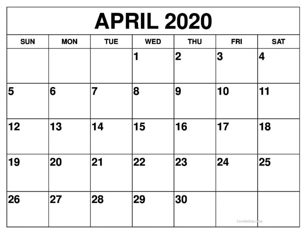 Blank April 2020 Calendar Printable
