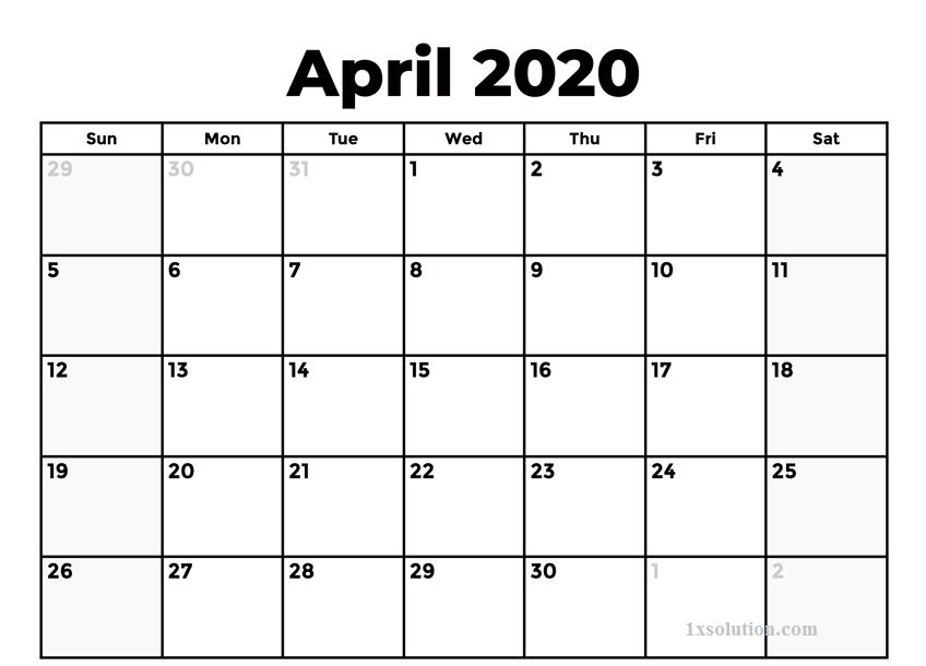 Calendar 2020 April Printable