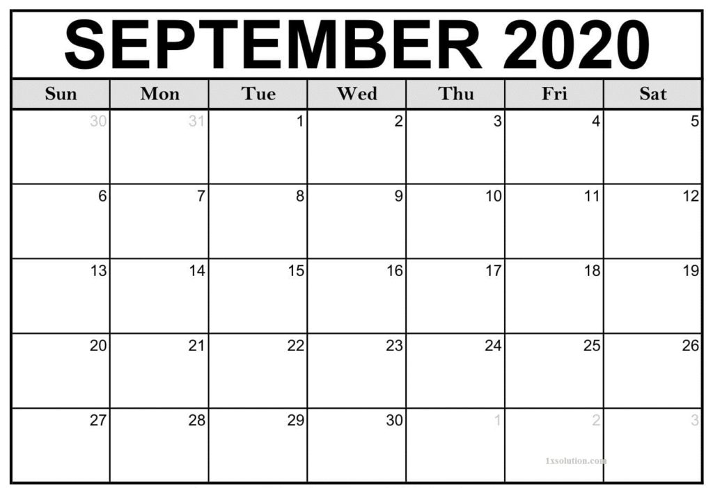 Calendar 2020 September Printable