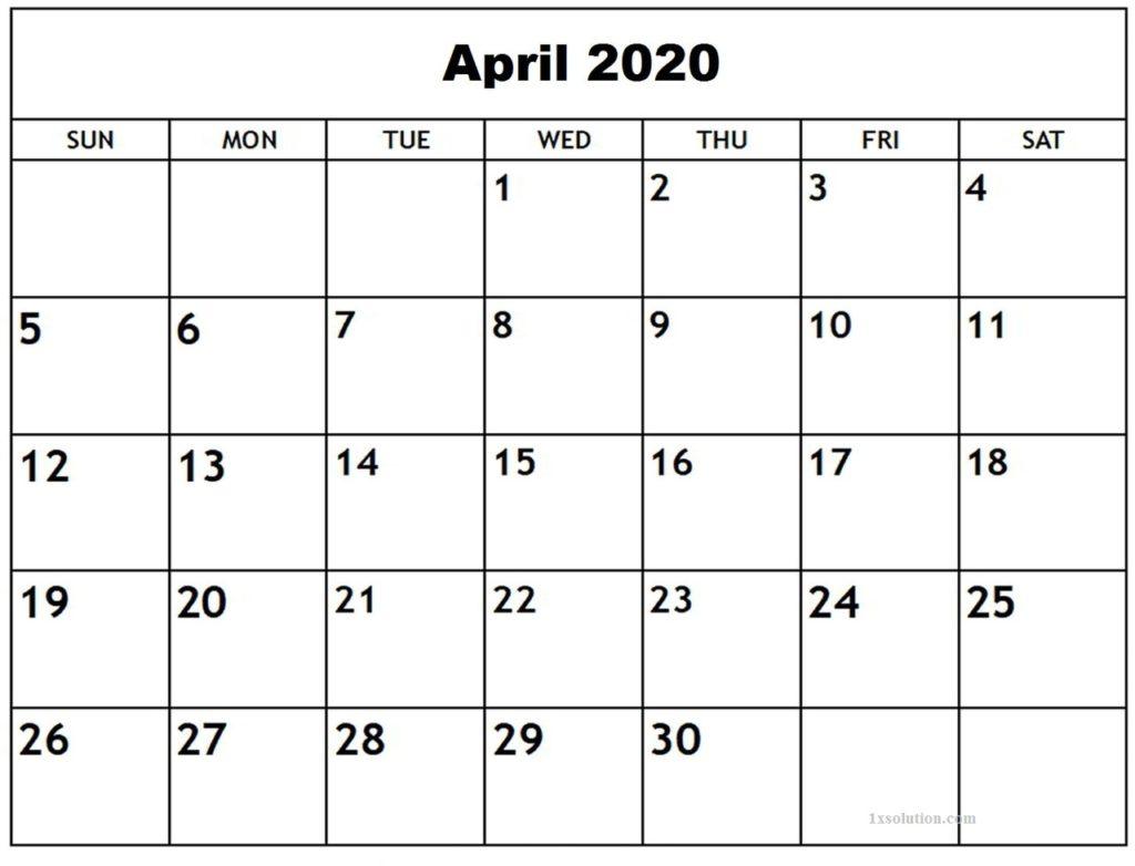 Download April 2020 Calendar Printable