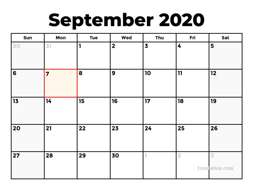PDF September 2020 Calendar Printable