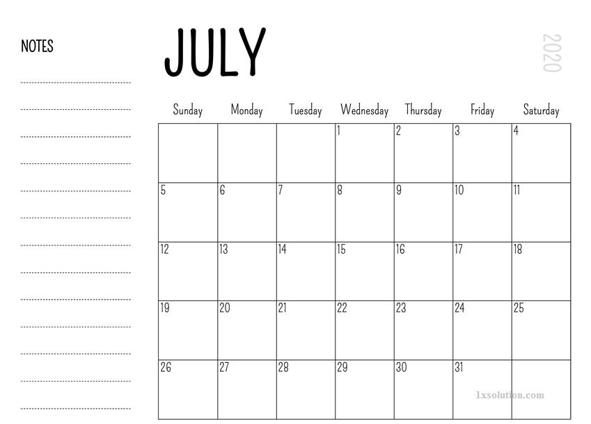 Printable 2020 July Calendar