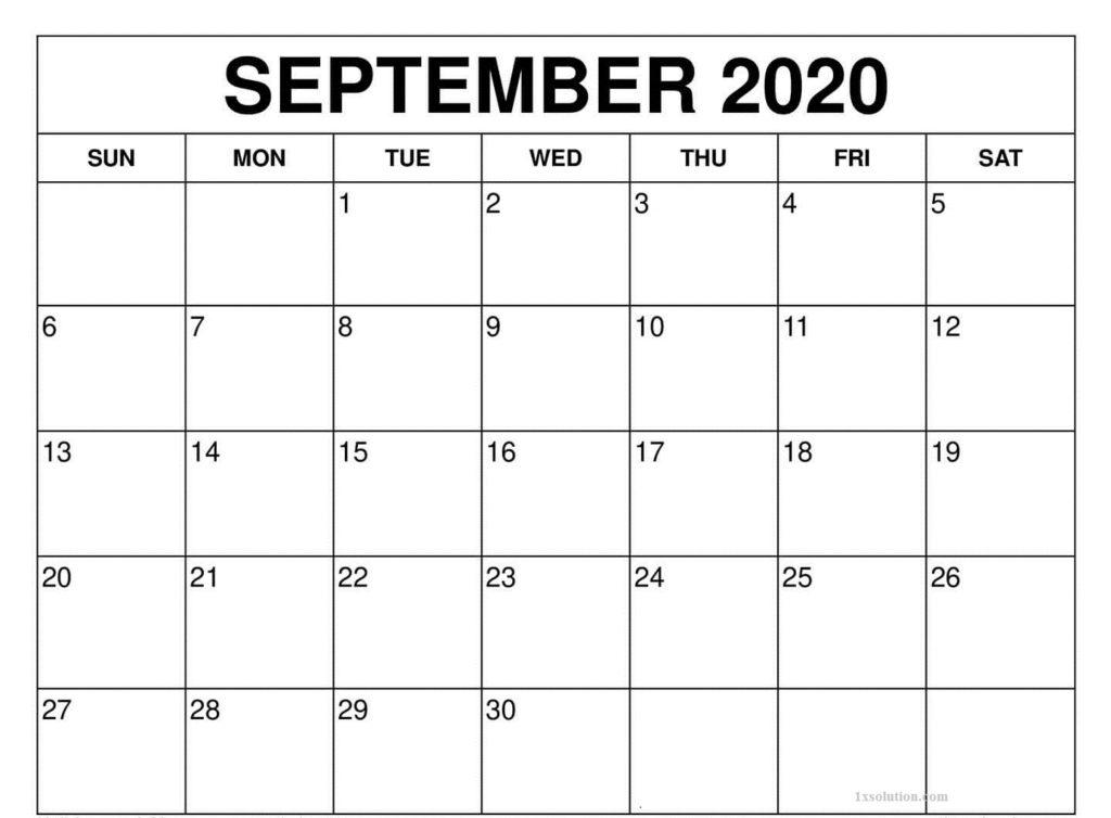 Printable 2020 September Calendar