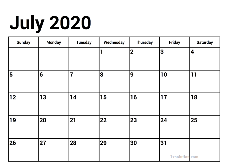 Printable July 2020 Calendra