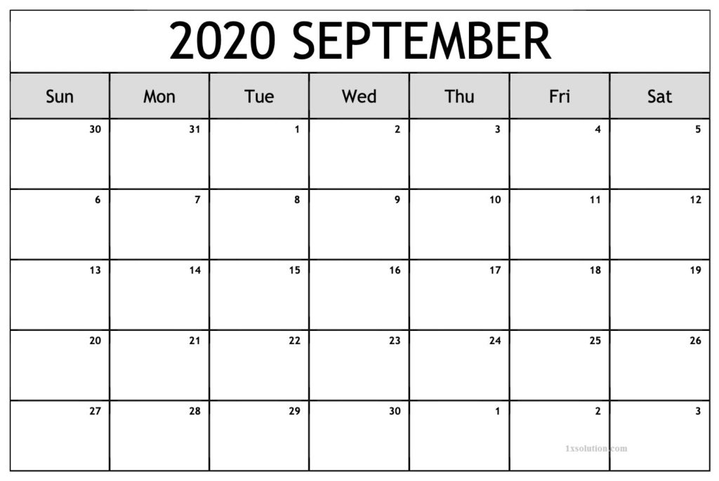 September 2020 Calendar Printable For Kids