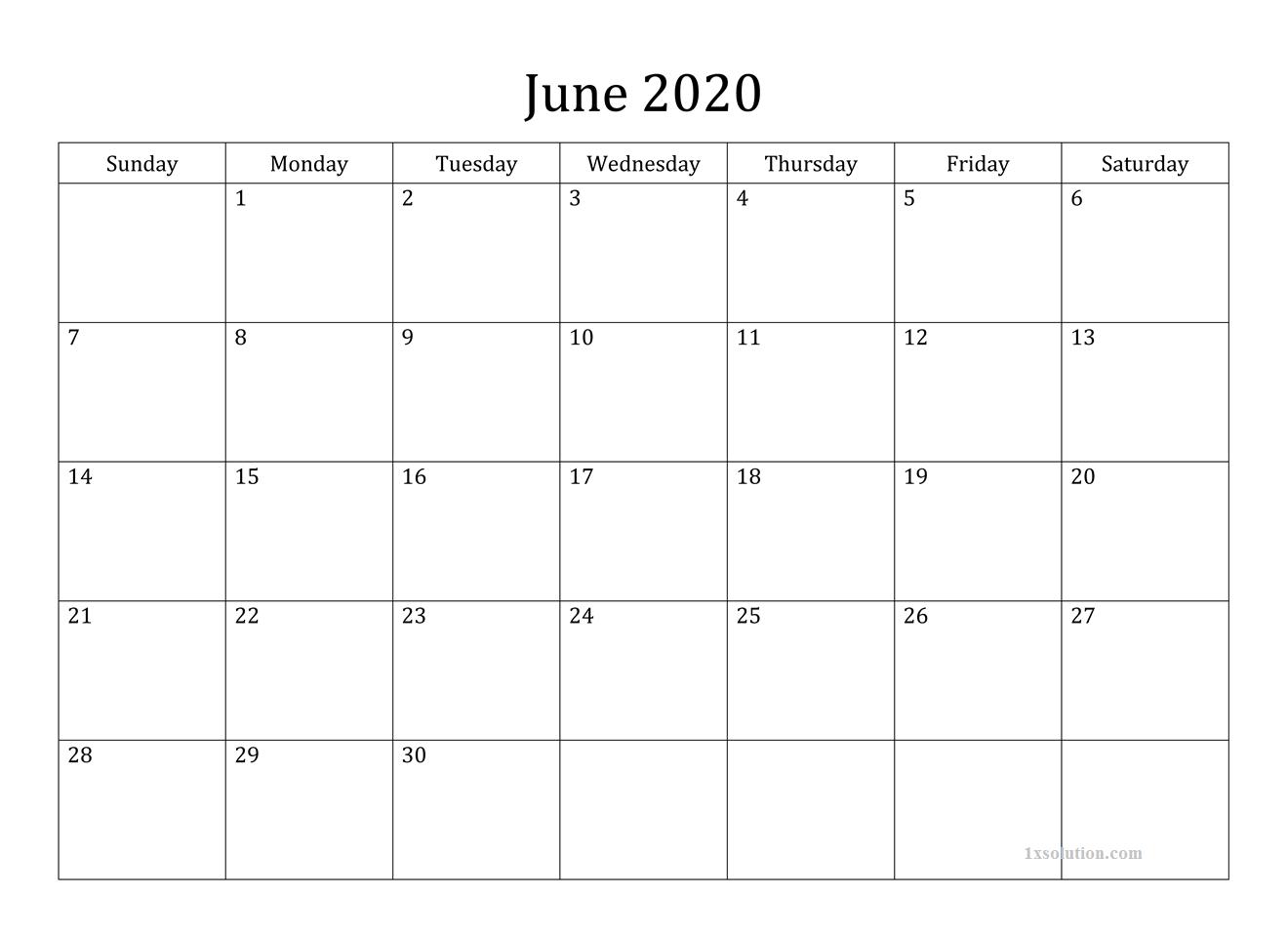 2020 June Calendar Printable