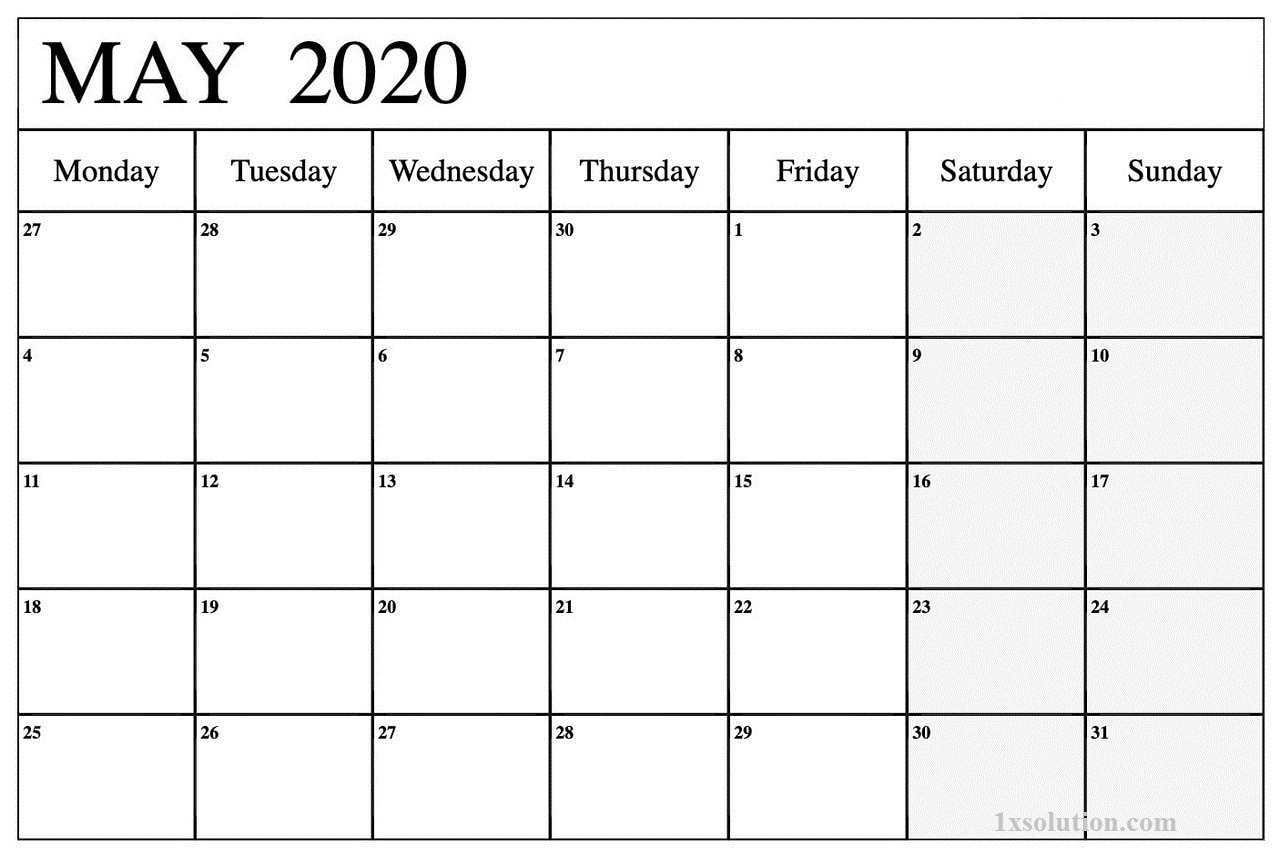 2020 May Calendar Excel
