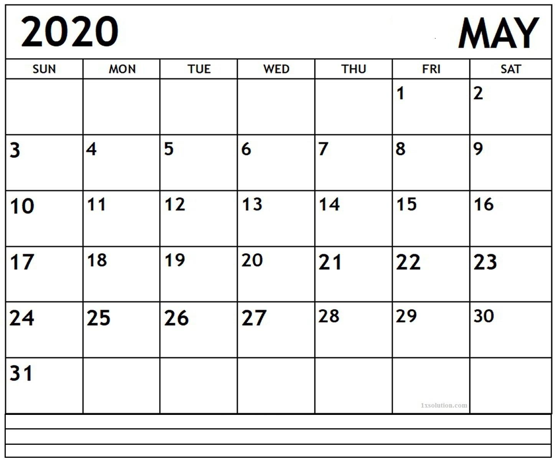 2020 May Excel Calendar