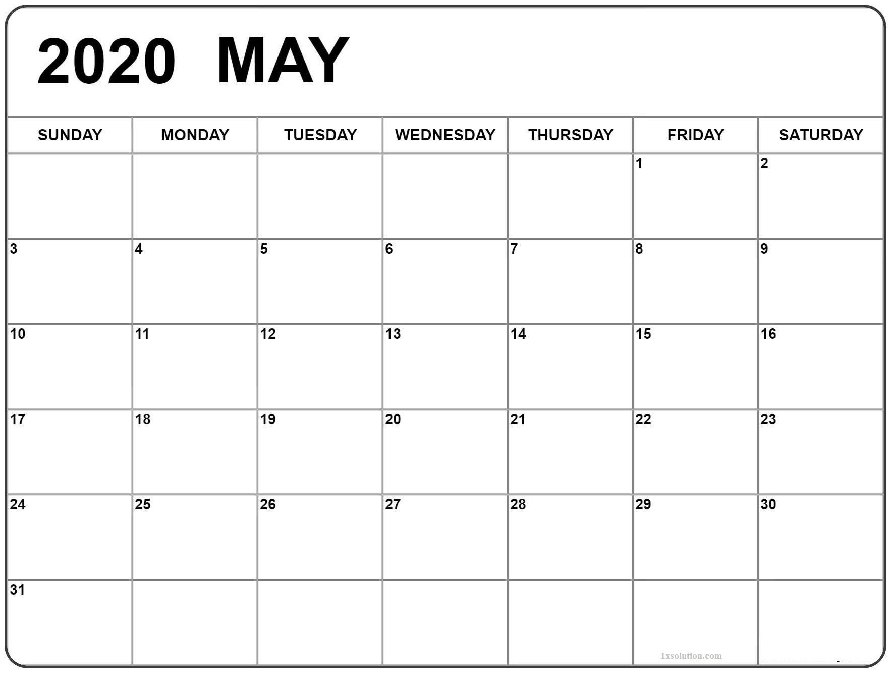 Blank May 2020 Calendar Excel