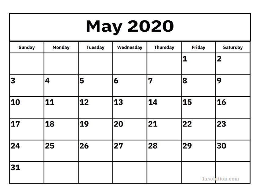 Blank May 2020 Calendar For Kids