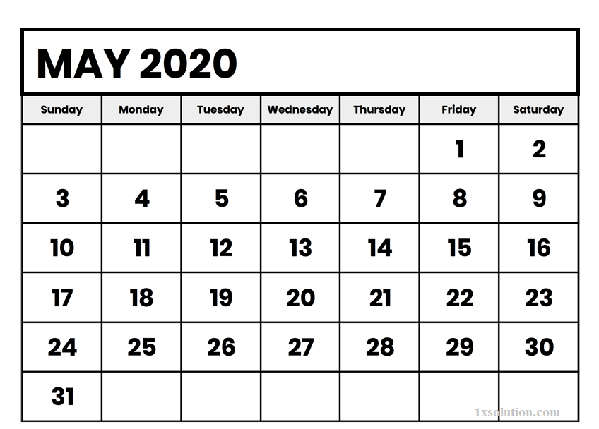 Calendar May 2020 Excel